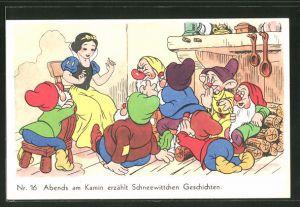 AK Schneewittchen-Comic Nr. 16: Abends am Kamin erzählt Schneewittchen Geschichten