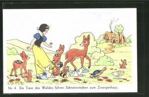 AK Schneewittchen-Comic Nr. 4: Die Tiere des Waldes führen Schneewittchen zum Zwergenhaus