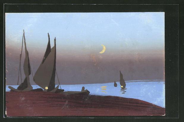 Künstler-AK Handgemalt: Segelboot am Strand mit Blick auf das Meer bei Nacht, Schablonenmalerei