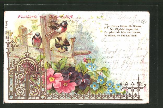 Duft-AK Postkarte mit Blumenduft, Singvögel und Blumen