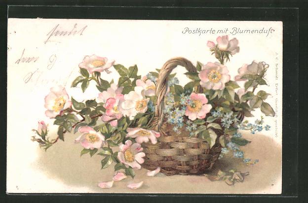 Duft-AK Postkarte mit Blumenduft, Wildrosen im Korb