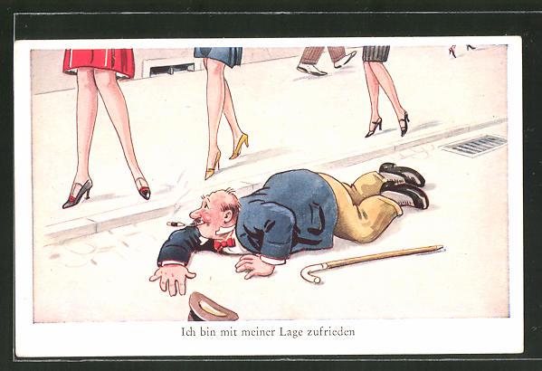 AK Gestürzter Mann geniesst den Blick auf schlanke Frauenbeine 0