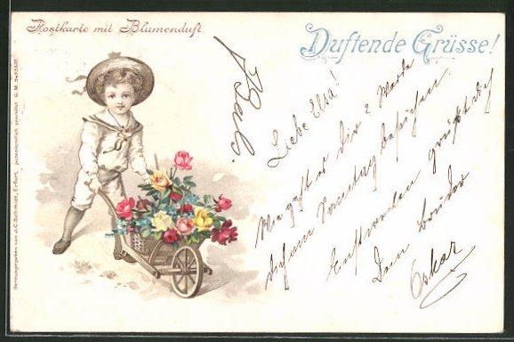 Duft-AK Postkarte mit Blumenduft, Knabe mit einer Karre voller Blumen 0