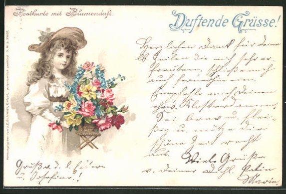 Duft-AK Postkarte mit Blumenduft, Mädchen mit Blumenkorb