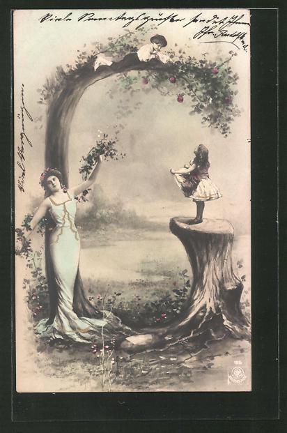 AK Buchstabe G, Maid mit Blumen Girlande und Kinder die Äpfel pflücken