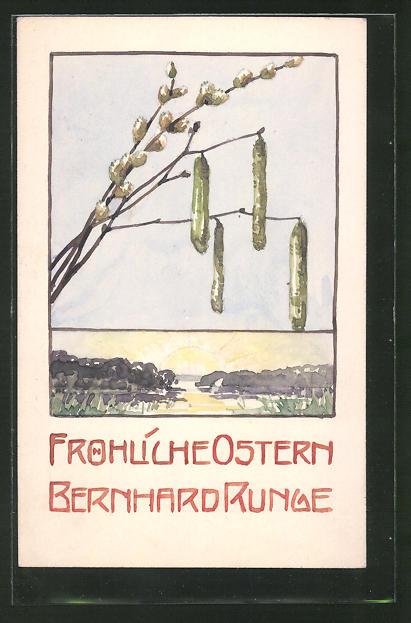 Künstler-AK Handgemalt: Fröhliche Ostern, Weidenkätzchen