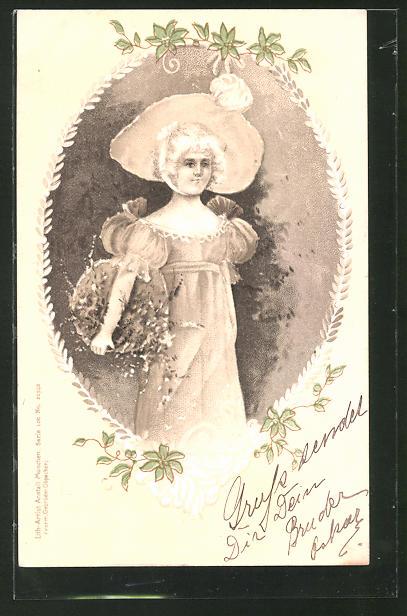 Lithographie Junge Dame mit Korb voller Blumen und Hut