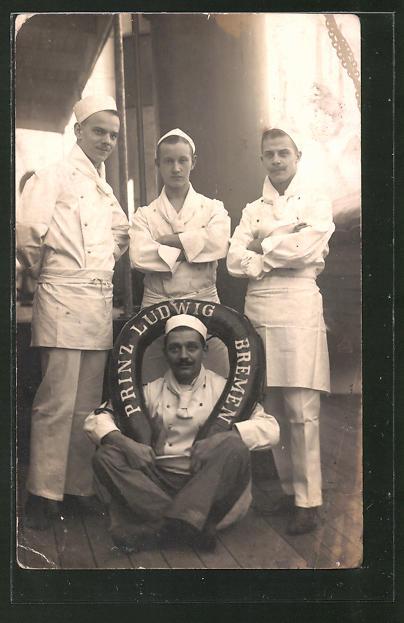 Foto-AK Köche an Bord des Schiffes Prinz Ludwig aus Bremen