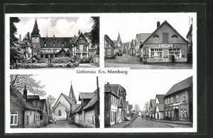 AK Liebenau, verschiedene Orts- und Strassenansichten