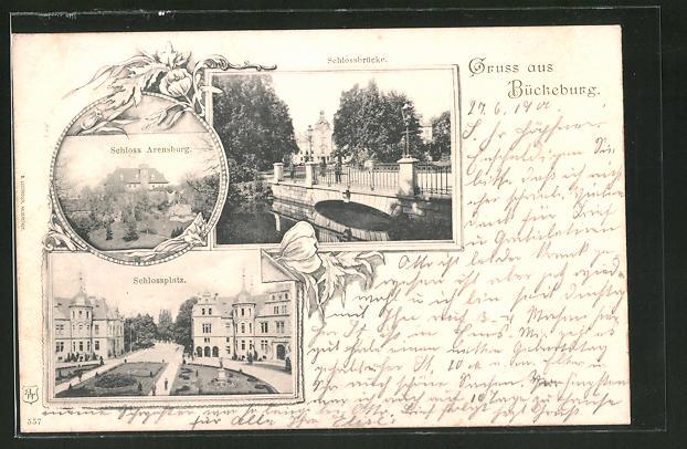 AK Bückeburg, Schloss Arensburg, Schlossplatz, Schlossbrücke