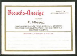 AK Bielefeld, Besuchs-Anzeige eines Vertreters der Firma Gehring & Neiweiser