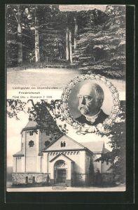 AK Friedrichsruh, Lieblingsplatz von Fürst Otto v. Bismarck, Gruftkapelle und Portrait