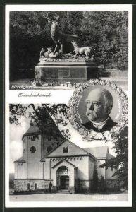 AK Friedrichsruh, Hirschgruppe, Gruftkapelle und Portrait von Fürst Otto v. Bismarck