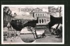AK Tabor, Kollage aus Teilansichten der Stadt, Theater