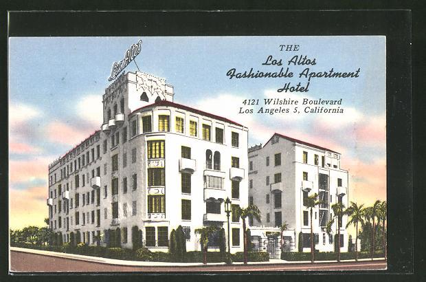 AK Los Angeles, CA, The Los Altos Fashionable Apartment Hotel, Wilshire Boulevard