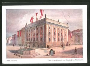 Künstler-AK Wels, histor. Darstellung vom Rathaus