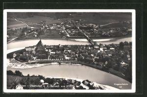 AK Oberndorf a/Salzach, Totale aus 200m