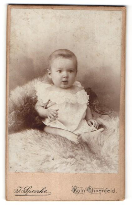 Fotografie J. Spenke, Köln-Ehrenfeld, niedliches Baby auf Felldecke sitzend