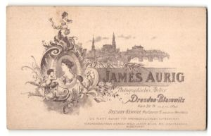 Fotografie James Aurig, Dresden-Blasewitz, rückseitige Ansicht Dresden, Altstadt, vorderseitig Portrait Mutter & Tochter