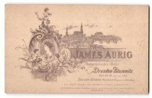 Fotografie James Aurig, Dresden-Blasewitz, rückseitige Ansicht Dresden, Altstadt, vorderseitig Portrait Frau und Kind