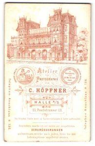 Fotografie C. Höpfner, Halle a/S, rückseitige Ansicht Halle a/S, Atelier Poststrasse 13, vorderseitig Portrait Herr