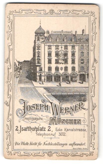 Fotografie Joseph Werner, München, rückseitige Ansicht München, Atelier Isarthorplatz 2, vorderseitige Portrait
