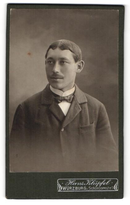 Fotografie Hans Klüpfel, Würzburg, Portrait Herr mit zeitgenöss. Frisur