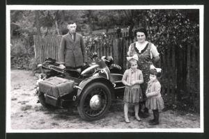 Fotografie Motorrad DKW mit Seitenwagen, Krad Kennzeichen IA-162862