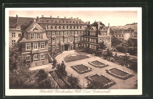 AK Halle, Elisabeth-Krankenhaus mit Gartenansicht
