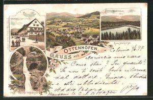 Lithographie Ottenhöfen, Gasthaus zur Linde, Wasserfall Edelfrauengrab, Ruine Allerheiligen