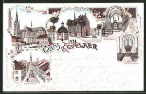 Lithographie Kevelaer, Kapellenplatz m. d. Kerzerkapelle, Inneres der Kerzen-Kapelle, Inneres des Clarissen-Klosters
