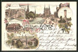 Lithographie Barmen, Fischerthaler Meierei, Haspeler Brücke, Neuenweg, Unter Barmen, Tölle-Thurm