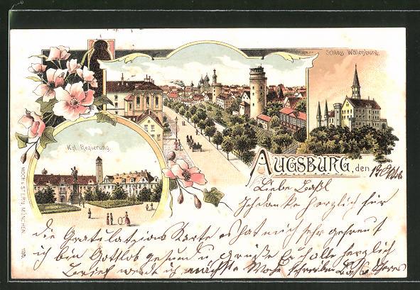 Lithographie Augsburg, Kgl. Regierung, Ortsansicht, Schloss Wöllenburg