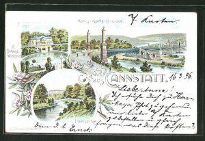 Lithographie Cannstatt, König-Karls-Brücke, K. Schloss Wilhelma, Inselspitze