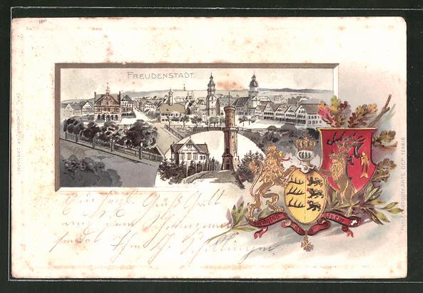 Präge-Passepartout-Lithographie Freudenstadt, Totalansicht mit Ortspartie und Wappen