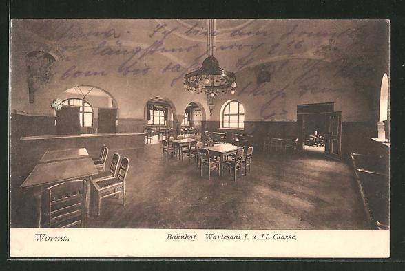 AK Worms, Wartesaal I. und II. Classe im Bahnhof