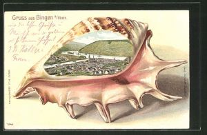 Passepartout-Lithographie Bingen a. Rh., Gesamtansicht in einer Muschel