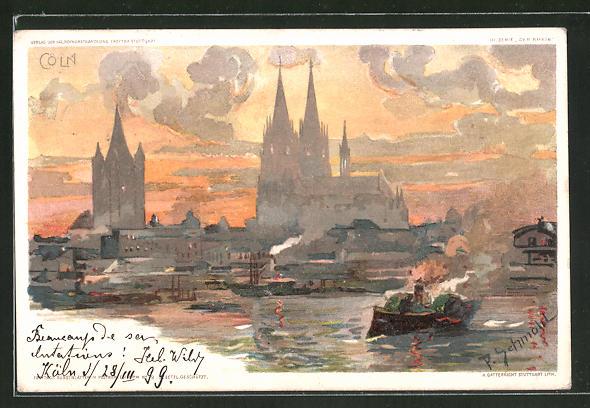 Künstler-AK P. Schmohl: Köln, Totalansicht mit Blick zum Dom