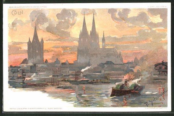 Künstler-AK P. Schmohl: Köln, Flusspartie mit Blick zum Dom