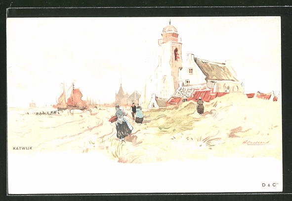 Künstler-AK Henri Cassiers: Katwijk, Partie an einer Kirche