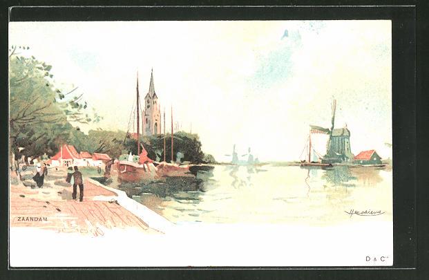 Künstler-AK Henri Cassiers: Zaandam, Teilansicht vom Ort mit Blick zu Windmühlen