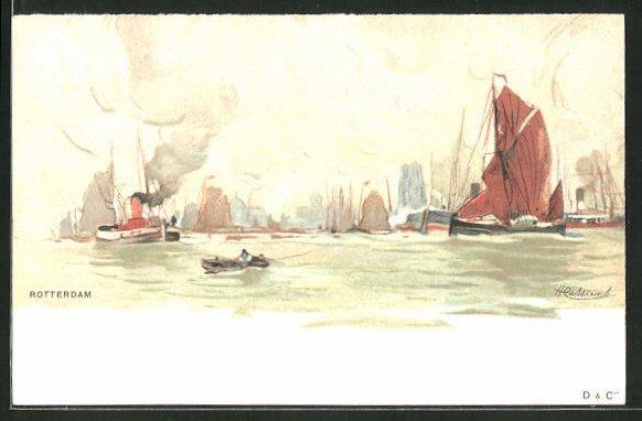 Künstler-AK Henri Cassiers: Rotterdam, Schiffe auf dem Meer