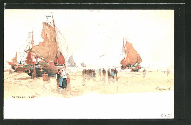 Künstler-AK Henri Cassiers: Scheveningen, Partie am Strand mit Segelbooten