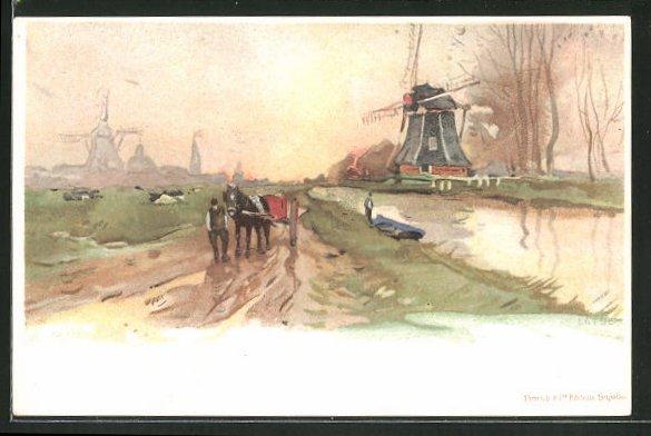 Künstler-AK Henri Cassiers: Landschaftspartie mit Pferdegespann und Windmühlen