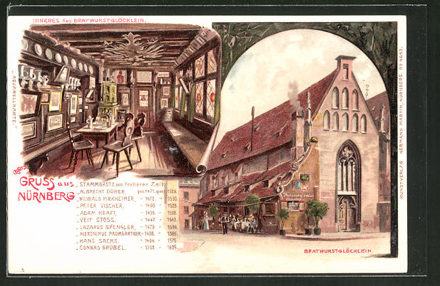 Künstler-AK Erwin Spindler: Nürnberg, Gasthof Bratwurstglöcklein, Stammgäste aus früherer Zeit