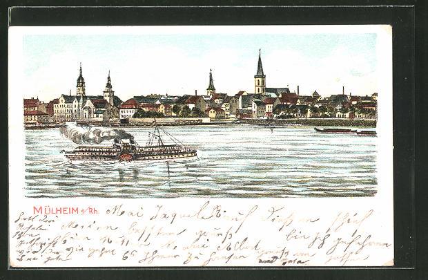 Lithographie Koln Mulheim Dampfer Auf Dem Rhein Nr 7971326