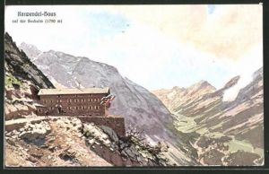 Künstler-AK Otto Strützel: Karwendel-Haus, Berghütte auf der Hochalm