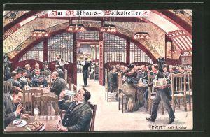 Künstler-AK F. Witt: Im Rathaus-Volkskeller
