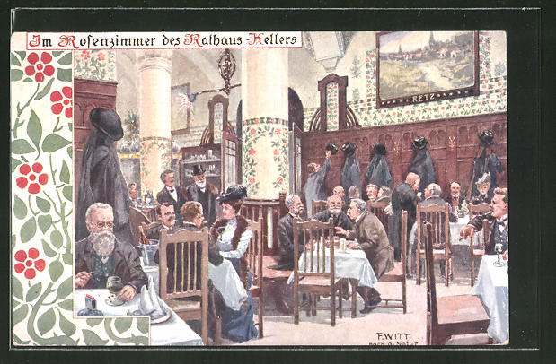 Künstler-AK F. Witt: Im Rosenzimmer des Rathaus-Kellers