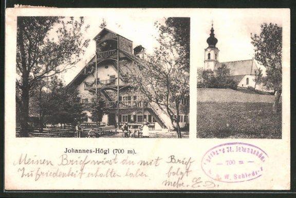 AK Piding, Ortsansicht mit Gasthaus Johannishögl & Kirchblick